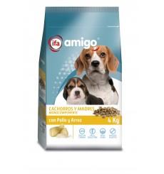 Perro cachorros y madres con pollo y arroz, plastico zip 4 kg