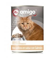 Lata Alimento Gatos Bocaditos con Salmón, 415 gr.