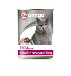 Lata Alimento Gatos Bocaditos con Buey, 415 gr.