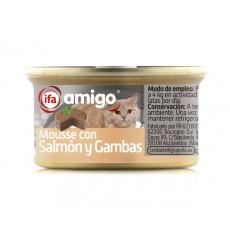 Alimentos Gatos mousse salmón y gambas 24x85 gr.