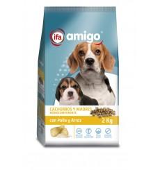 Perro cahorros  y madres con pollo y arroz, plastico zip 2 kg