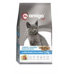 Gatos Junior con pollo, atún, arroz y vegetales, plastico zip 1,5 kg